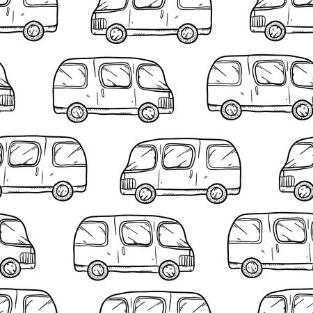 bases: Vector seamless pattern with doodle cartoon cute bases. Wonderful kids pattern with transport. Cool cars on white background. Vector bus. Sketch bus.
