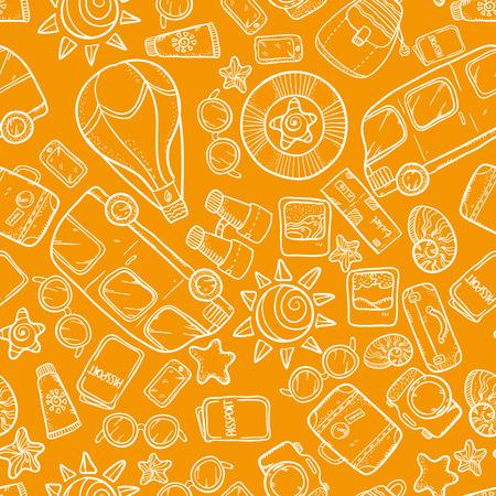 buss: Vector seamless pattern with buss, sun, glasses, passort and other tourism things. Vacation wonderful sketch pattern. Vacation doodle pattern on orange background. Illustration