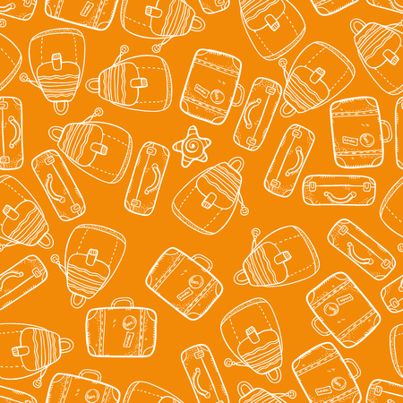 packsack: Vector seamless pattern with suitcases on orange background. Wonderful trip pattern. Vacation pattern. Doodle and cartoon suitcases pattern. Backpack texture.