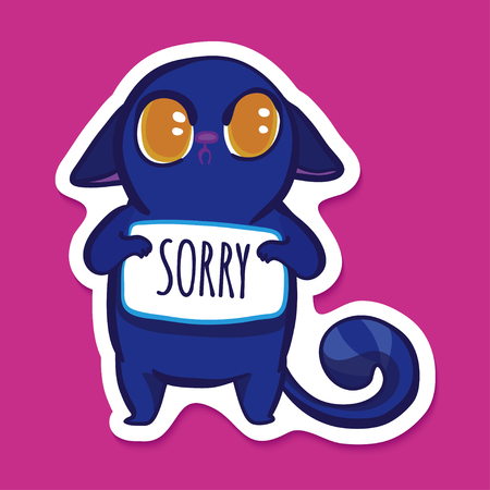 fault: Vector sticker with funny blue emotion cat. Very sad cat. Emotion sticker on bright pink background. Cartoon sad cat. Sorry. Its my fault
