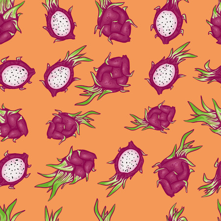 pomegranate juice: Vector seamless pattern with bright beautiful dragon fruits. Seamless pattern on orange background. Summer pattern. Fruit pattern. Thai pattern with cartoon and doodle fruits.