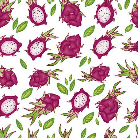 Vector seamless pattern avec lumineux beaux fruits de dragon avec des feuilles. Seamless sur fond blanc. motif d'été. motif de fruits. motif thaïlandais avec dessins animés et griffonnage fruits. Vecteurs