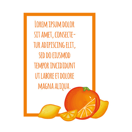 orange juice: Vector illustration with Thai fruits. Illustration with text on white background. Juicy illustration. Summer illustration. Bright illustration with lemon and orange.