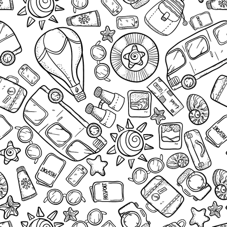 buss: Vector seamless pattern with buss, sun, glasses, passort and other tourism things. Vacation wonderful sketch pattern. Vacation doodle pattern on white background. Illustration