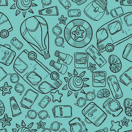buss: Vector seamless pattern with buss, sun, glasses, passort and other tourism things. Vacation wonderful sketch pattern. Vacation doodle pattern on cyan background. Illustration