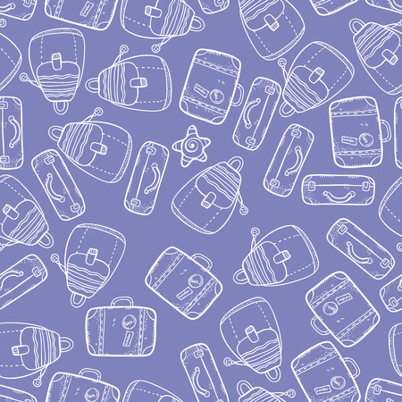 packsack: Vector seamless pattern with suitcases on violet background. Wonderful trip pattern. Vacation pattern. Doodle and cartoon suitcases pattern. Backpack texture.
