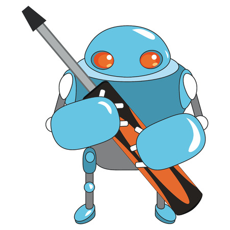 screw key: illustration with cute cartoon blue robot. Funny and cute  cartoon character. Cute robot with screw key. Little robot. illustration with blue robot on white background.