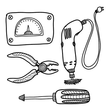 rasp: illustration with  pliers, screw key,  drill. Cartoon  building implements. Cartoon cute tools. Illustration with tools. instruments. Illustration