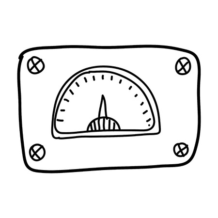 metal light bulb icon: illustration with  control panel doodle. Illustration