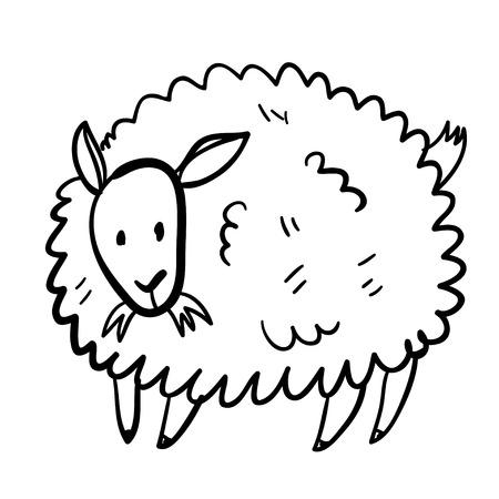 domestic animal: Vector illustration with farm animal. Doodle cute sheep. Cartoon sheep. Handy drawn domestic animal.