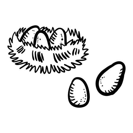 birds nest: Vector illustration doodle birds nest with eggs on white background. Handy drawn hens nest with big eggs. Cartoon nest.
