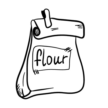 hand pencil: Vector illustration with handy drawn doodle bag of flour. Cartoon nature product.