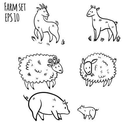 Vector illustration set with farm animals. Doodle cute three sheep. Cartoon buck and sheep. Handy drawn domestic animals. Farm set with sketch sheep, pig and goat on white background.