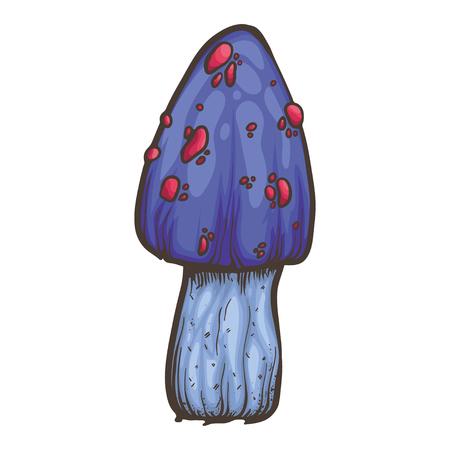 toadstool: Vector illustration with violet bright toadstool mushroom on white background. Illustration