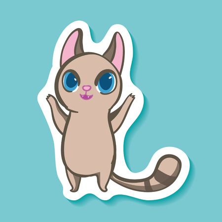 Vector sticker with funny emotion cat. Cartoon happy and cheerful Wonderful life! Great mood. Good Illustration