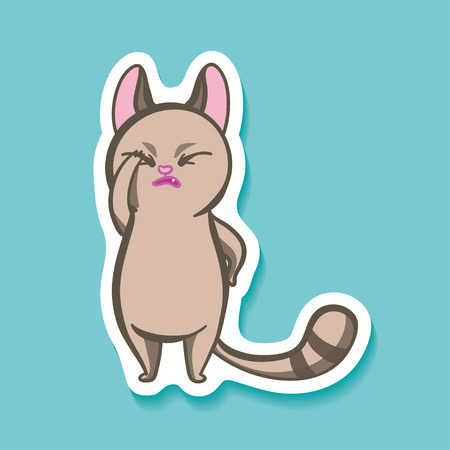 awful: Vector sticker with funny emotion cat. Facepalm Emotion on bright background. Cartoon Oh, my GOD. Its awful!