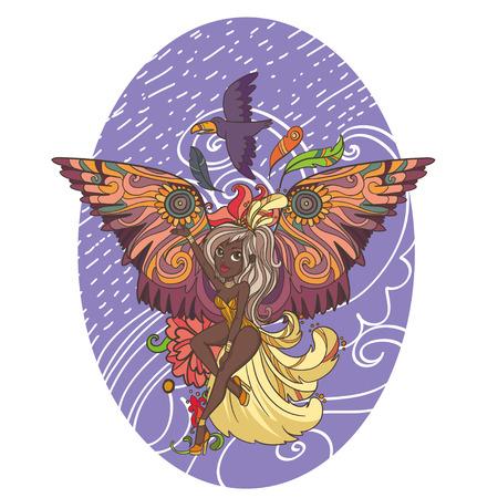 feather boa: beautiful vector illustration brazil festival girl with bright ornament