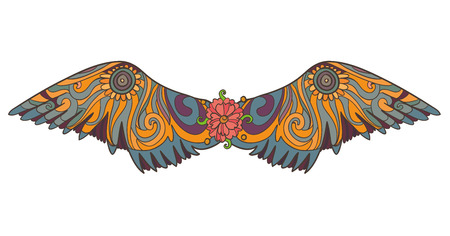 feather boa: vector illustrayion with big beautiful brazil festival wings for cloth