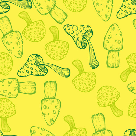 food poison: vector seamless pattern with beautiful mushrooms on yellow background Illustration