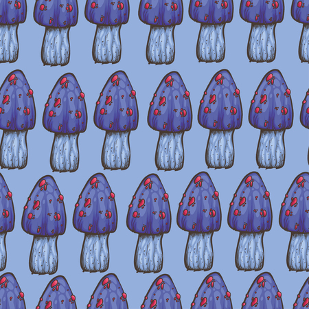 food poison: vector seamless pattern with blue mushrooms on light blue background