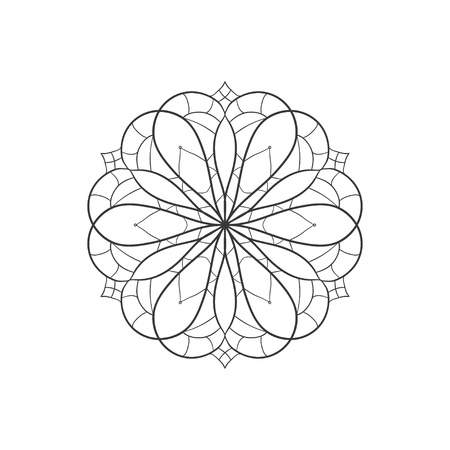 mystic: vector illustration with flower mandala on white background abstract