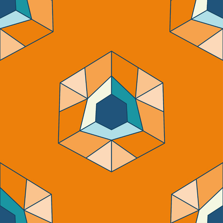 vector seamless pattern with bright geometry figure on orange background