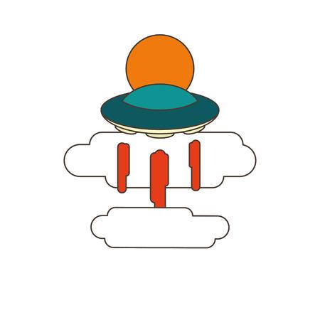 platillo volador: ilustración con el sol y las nubes OVNI en el fondo blanco Vectores