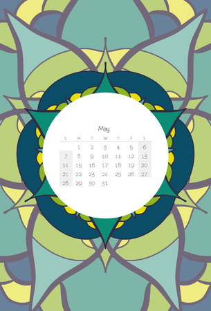 May calendar 2017 mandala ribal style