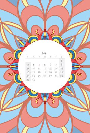 calendario julio: Calendario julio 2017 Mandala del estilo Ribal