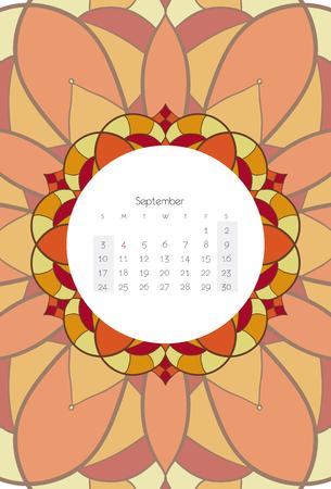 september calendar: September calendar 2017 mandala ribal style
