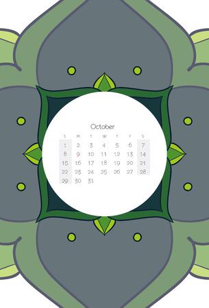 october calendar: CALENDARIO Octubre 2017 Mandala del estilo Ribal