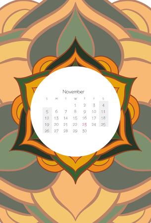 calendario noviembre: November calendar 2017 mandala ribal style Vectores