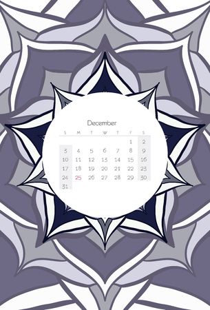 december calendar: December calendar 2017 mandala ribal style Illustration