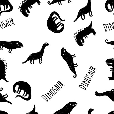 Seamless vector pattern with dinosaurus on white background