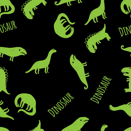 pterodactyl: Seamless vector pattern with green dinosaurus on black background