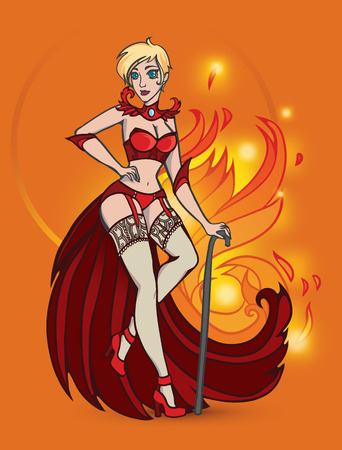 seduction: Vector illustration with fire magic witch