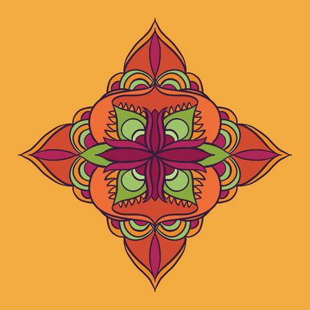 vector mandala bright orange blossom