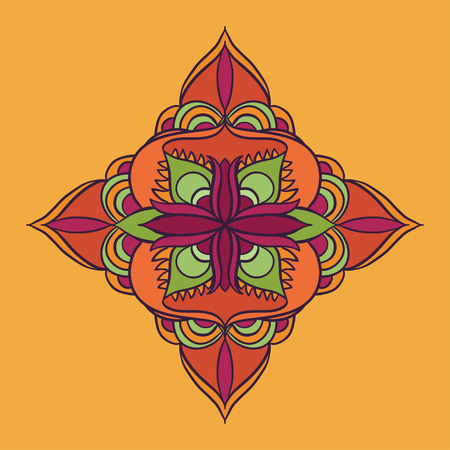 orange blossom: vector mandala bright orange blossom