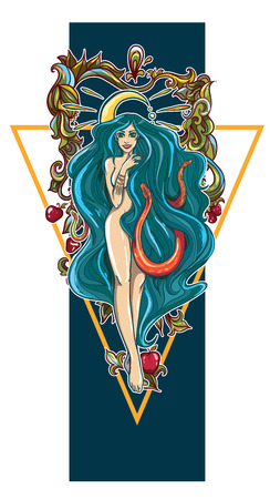 Vector illustration with sexy girl, snakes and apples