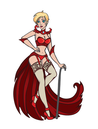 naughty girl: Vector illustration with fire magic witch on white background