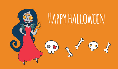 vector illustration halloween set with woman death and bones on orange background