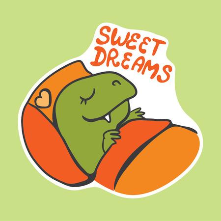 vector sticker with cute cartoon sleeping dinosaur