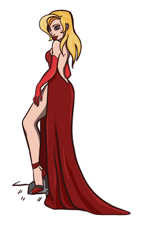 vector illustration with sexy blonde lady in red Stock Illustratie