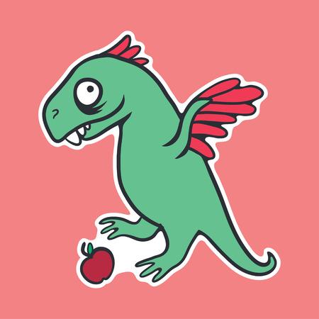 vector sticker with cute cartoon dinosaur