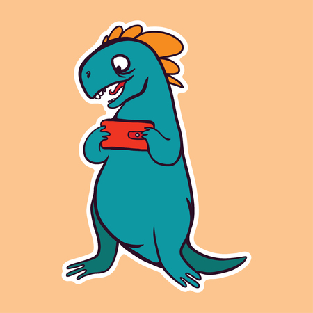 vector sticker with cute cartoon dinosaur playing game