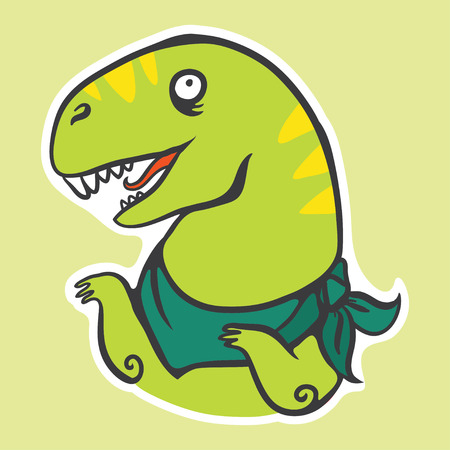 vector sticker with cute cartoon green rex dinosaur