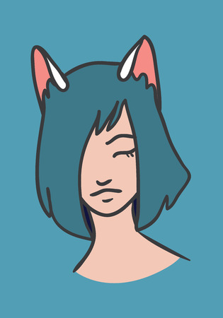 youthful: Illustration with cat girl on blue background