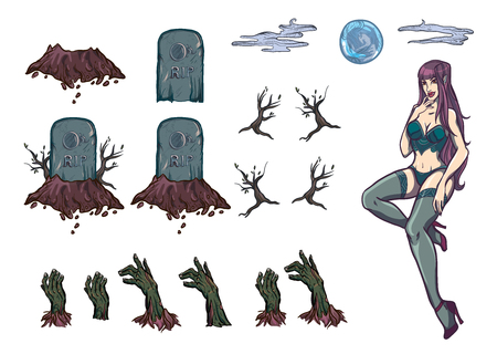 sexy halloween: Vector illustration set with sexy girl vampire zombie halloween Illustration