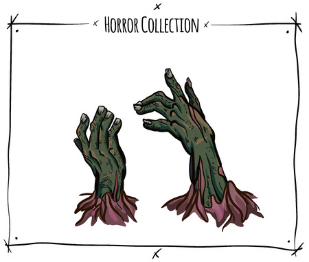 blood draw: Vector illustration with zombie hands on white background