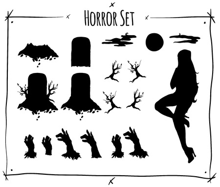 shadowgraph: Illustration set with horror shadowgraph on white background
